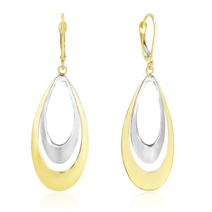 14K Two-Tone Gold Graduated Open Double Teardrop Earrings