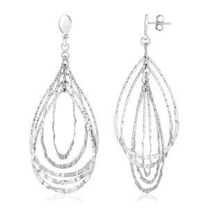 Sterling Silver Textured Teardrop Motif Dangle Earrings
