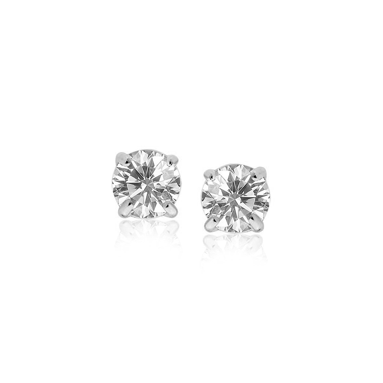 Sterling Silver Stud Earrings with White Hue Faceted Cubic Zirconia
