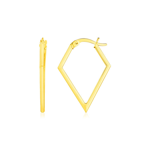 14K Yellow Gold Diamond Motif Hoop Earrings