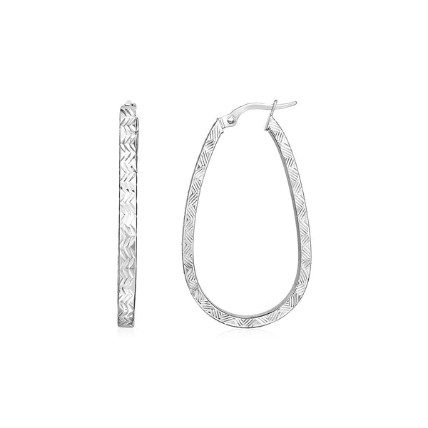 14k White Gold Oval Shaped Textured Hoop Earrings