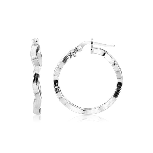 Sterling Silver Round Polished Wavy Profile Hoop Earrings