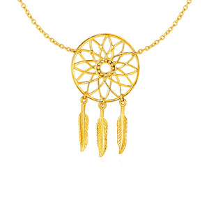 Dream Catcher Pendant in 14k Yellow Gold