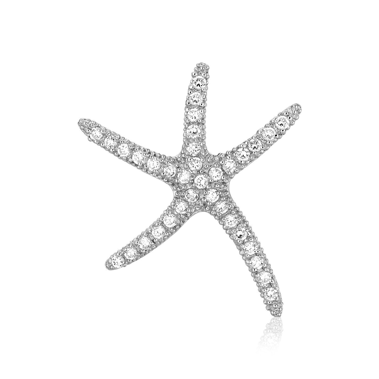 Sterling Silver Large Starfish Pendant with Cubic Zirconias