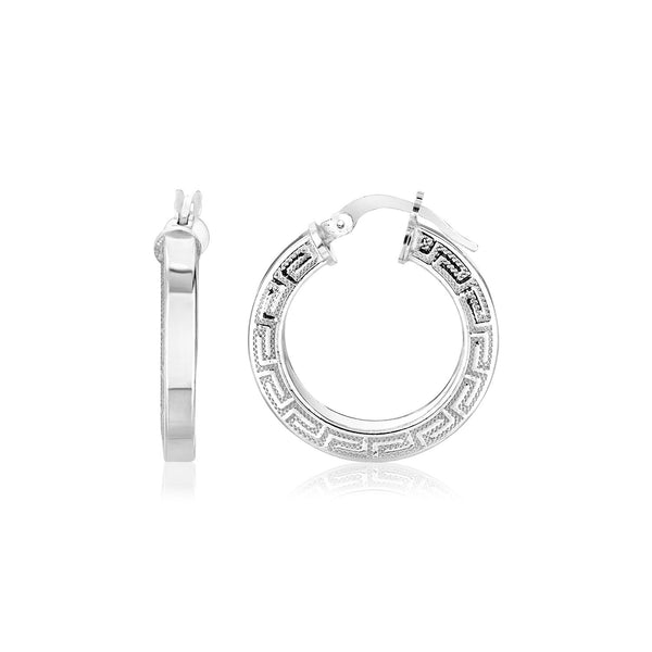 Sterling Silver Round Hoop Earrings with Greek Key Pattern