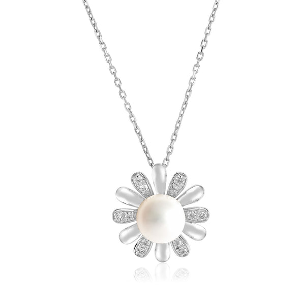 Sterling Silver Pendant with Sun Motif and Freshwater Pearl
