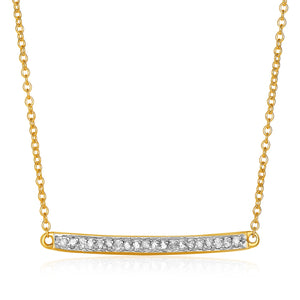 14k Yellow Gold Necklace with Gold and Diamond Bar (1/10 cttw)