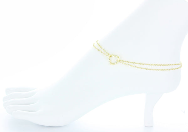 10K Yellow Gold Double Rolo Chain Anklet with an Open Heart Station-Anklets-10-Yellow gold-MY UPSCALE STORE