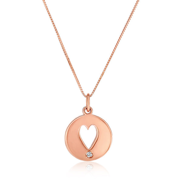 14k Rose Gold Necklace with Gold and Diamond Cutout Heart Pendant