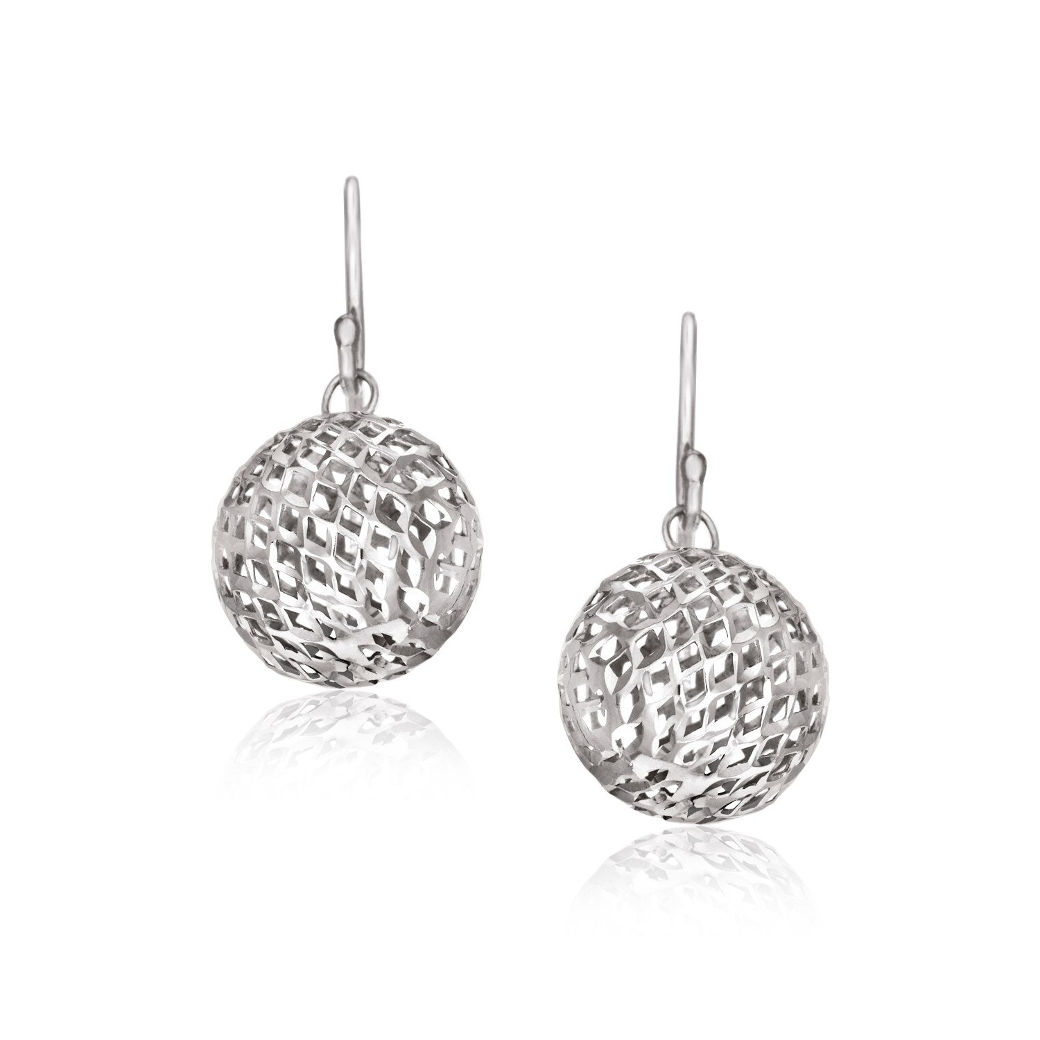 Sterling Silver Round Drop Earrings with Mesh Design