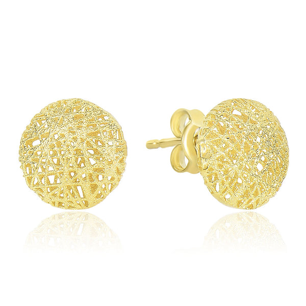 14k Yellow Gold Mesh Motif Textured Puffed Round Earrings
