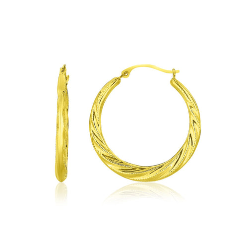 10K Yellow Gold Graduated Twisted Hoop Earrings