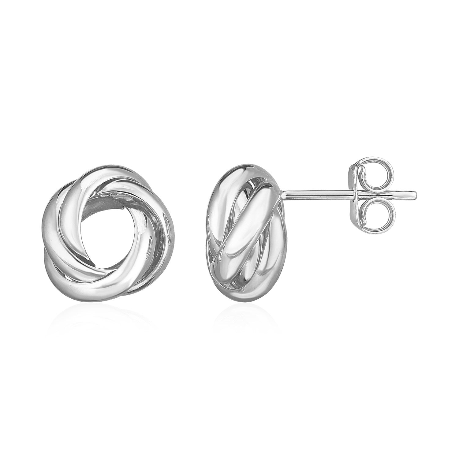 14k White Gold Polished Love Knot Earrings