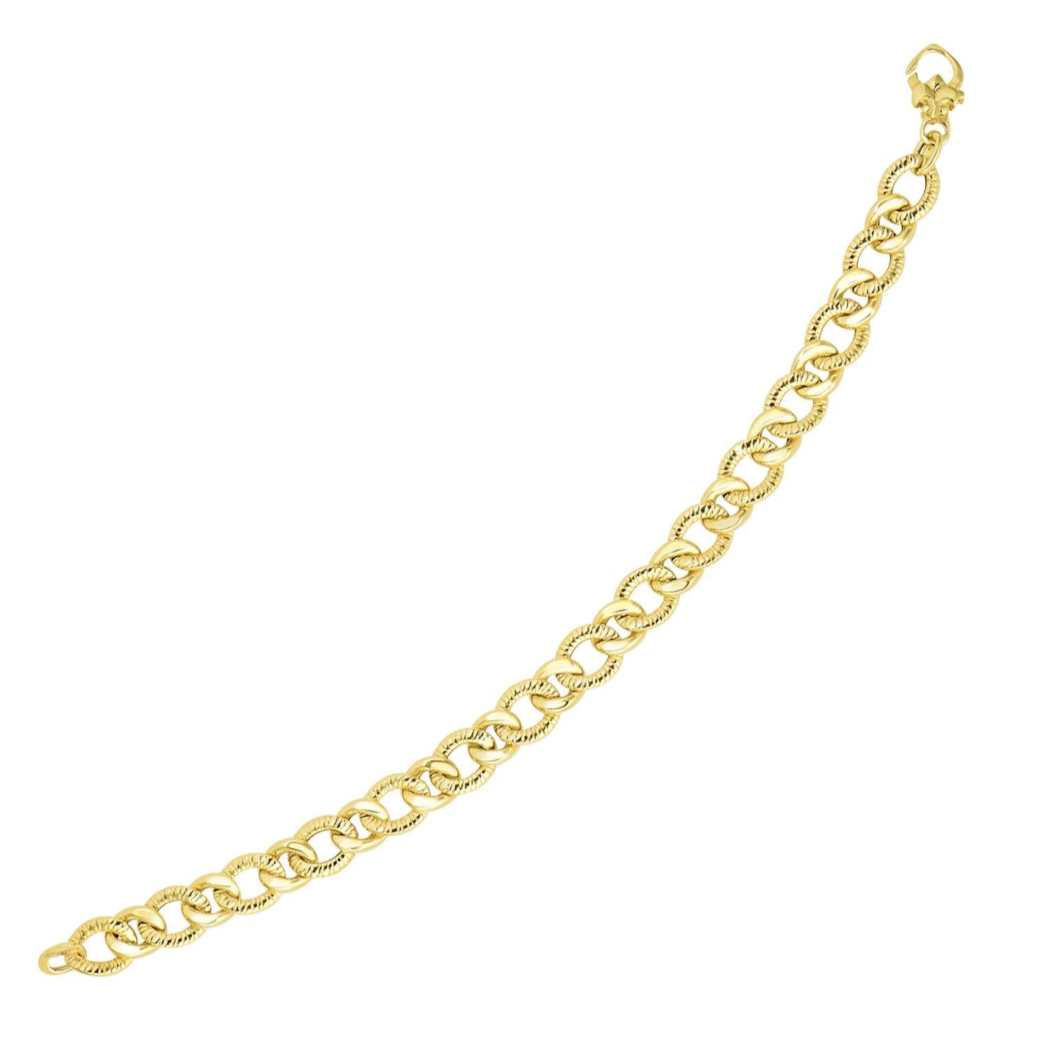 14k Yellow Gold Curb Chain Design with Diamond Cuts Bracelet