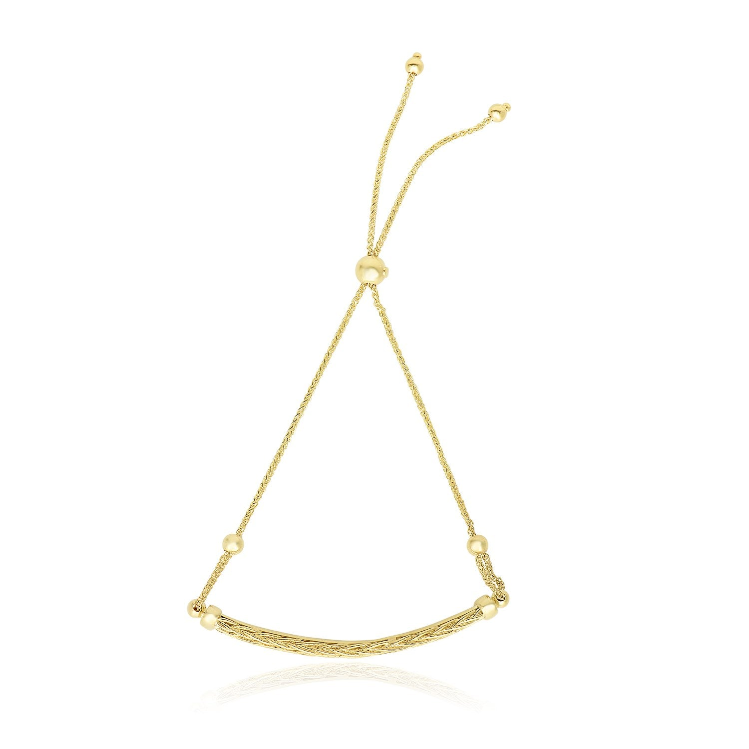 14k Yellow Gold Curved Bar and Chain Adjustable Lariat Bracelet
