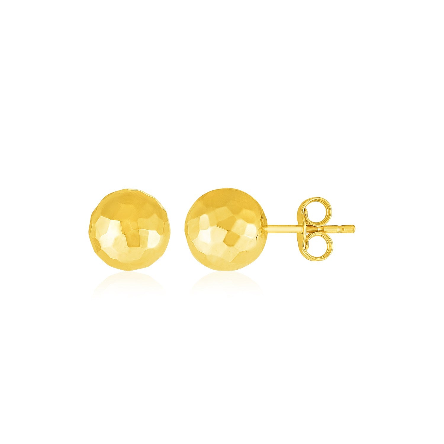 14k Yellow Gold Ball Earrings with Faceted Texture