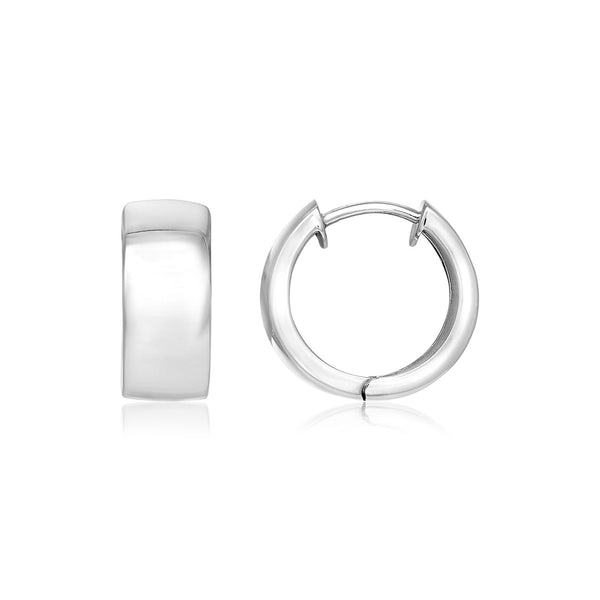 Sterling Silver Snuggable Hoop Earrings with Satin Texture