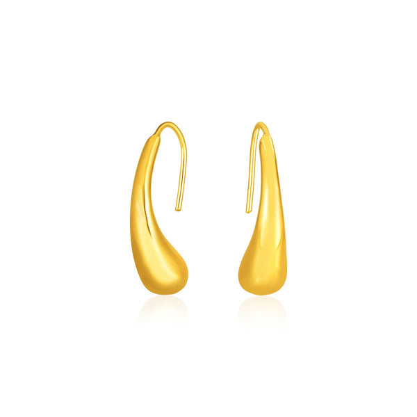 14k Yellow Gold Puffed Teardrop Earrings