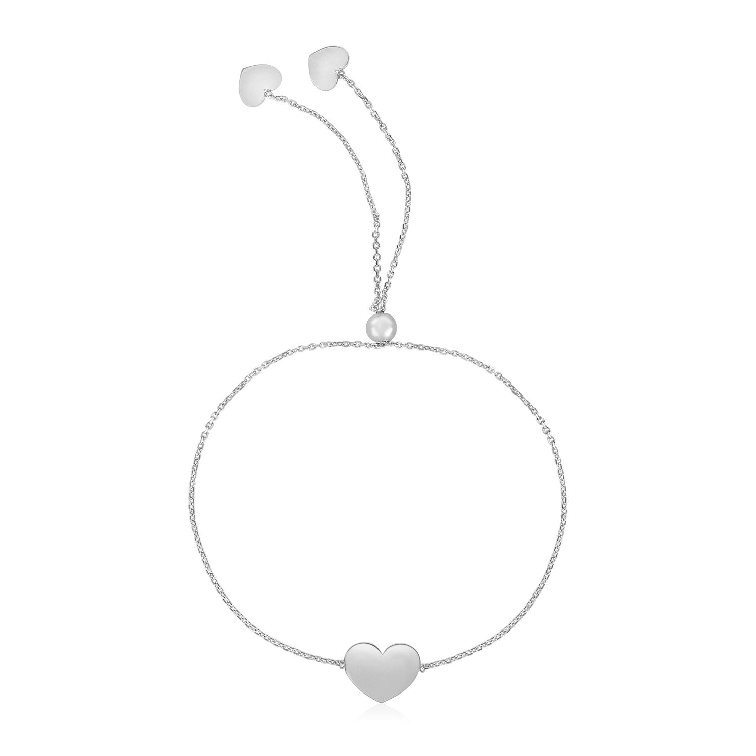 14k White Gold Adjustable Heart Bracelet