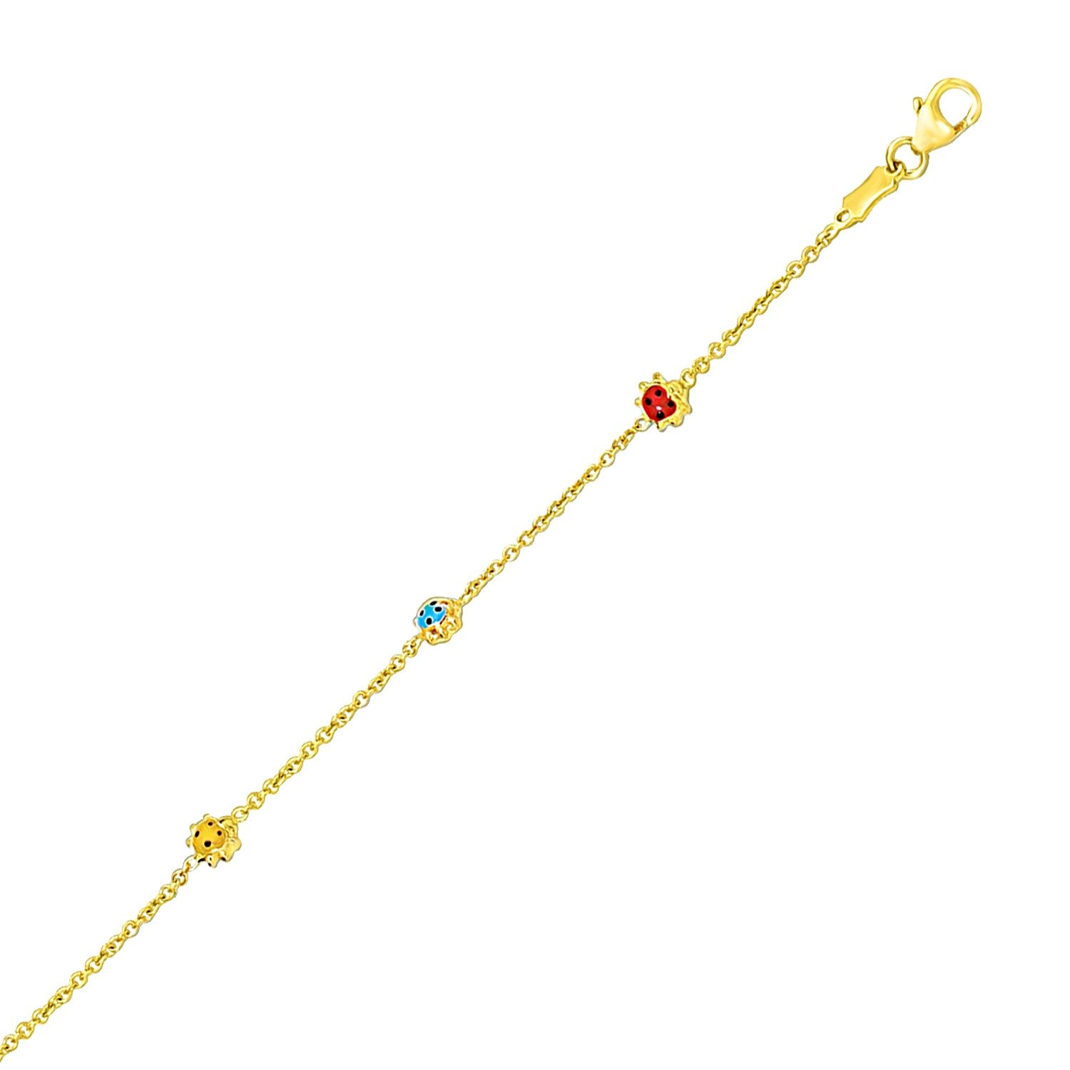 14k Yellow Gold Chain Bracelet with Multi-Tone Ladybug Stations