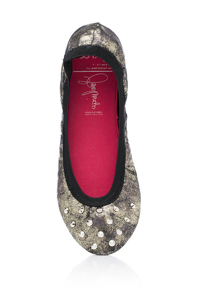"""JGLO"" (Brush Nickel Studded)-Shoes, Flats-Small (5-6.5)-MY UPSCALE STORE"