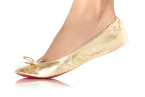 METALLIC GOLD BALLET FLATS-Shoes, Flats-Small: 5-7-MY UPSCALE STORE