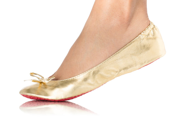 METALLIC GOLD BALLET FLATS