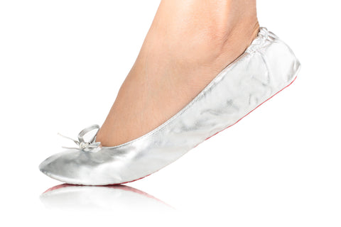 METALLIC SILVER BALLET FLATS-Shoes, Flats-Small: 5-7-MY UPSCALE STORE