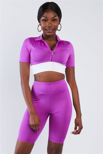 Purple & White Contrast Trim Crop Pull Over & Mini Biker Short Set