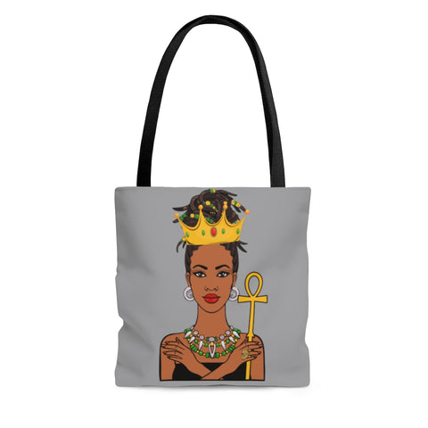 Melanated Queen Tote Bag (Santas Grey)