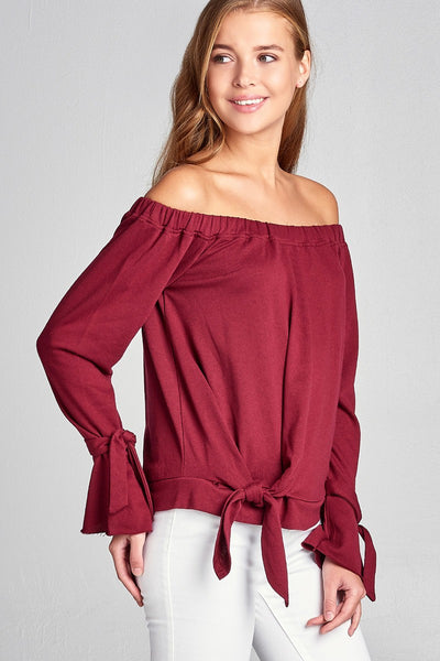 Ladies fashion off the shoulder tie-front french terry top-S-MY UPSCALE STORE
