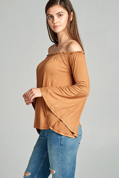 Ladies fashion off the shoulder bell sleeve rayon spandex jersey top-S-MY UPSCALE STORE