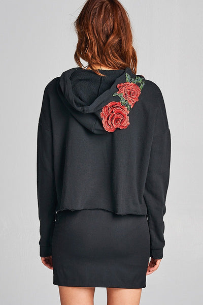 Ladies fashion floral patched hoodie french terry top-S-MY UPSCALE STORE