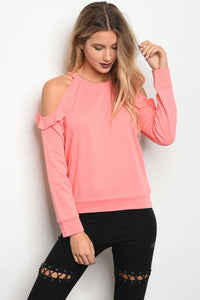 Ladies fashion long sleeve sweater top featuring cold shoulders with ruffle details and a crew neckline-S-MY UPSCALE STORE