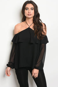 Ladies fashion long sleeve off the chiffon top with a halter neck tie-XS-MY UPSCALE STORE