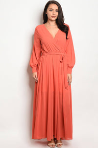 Ladies fashion plus size long sleeve chiffon maxi dress with a v neckline-1XL-MY UPSCALE STORE
