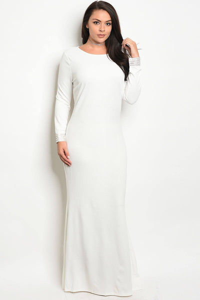 Ladies fashion long sleeve fitted plus size gown with a rounded neckline and open back with jeweled accents-1XL-MY UPSCALE STORE