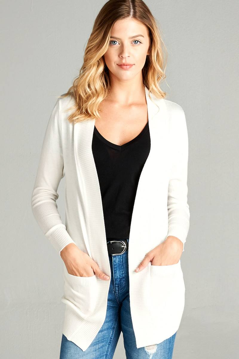 Ladies fshion long sleeve rib banded open sweater cardigan w/pockets-S-MY UPSCALE STORE