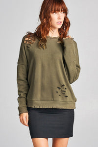 Ladies fshion long sleeve distressed solid french terry top-S-MY UPSCALE STORE
