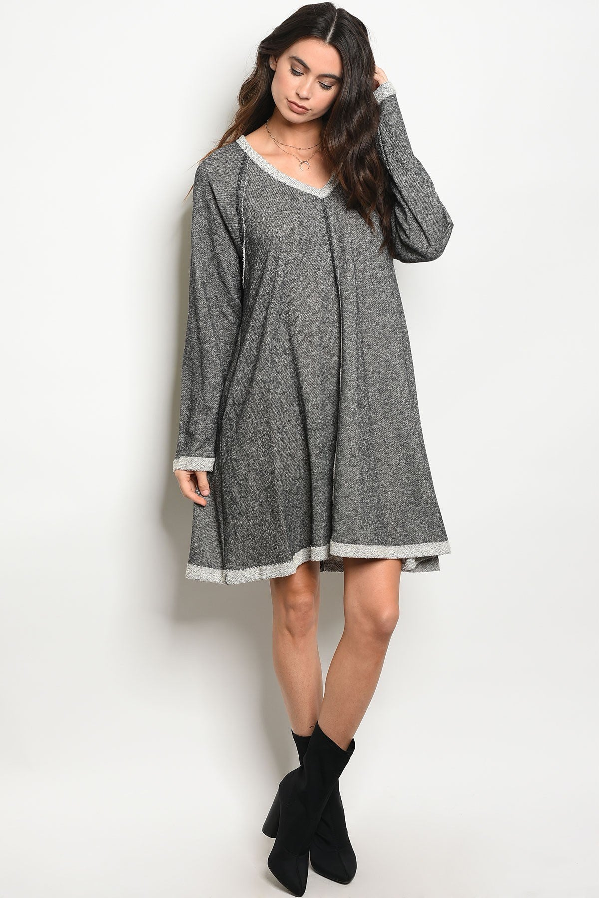 Ladies fashion long sleeve knit sweater skater dress with a scoop neckline, featuring pocket details-S-MY UPSCALE STORE