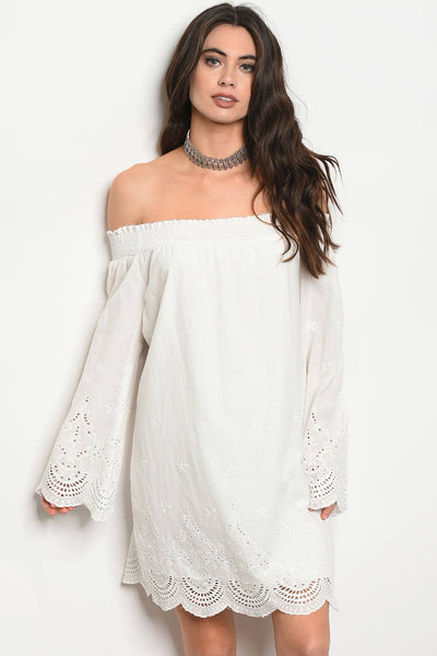 Ladies fashion long sleeve off the shoulder shift dress with lace details-S-MY UPSCALE STORE