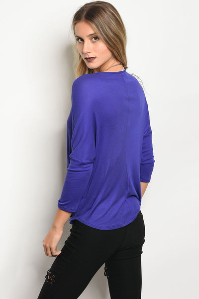 Ladies fashion 3/4 sleeve jersey draped top with a v neckline-S-MY UPSCALE STORE