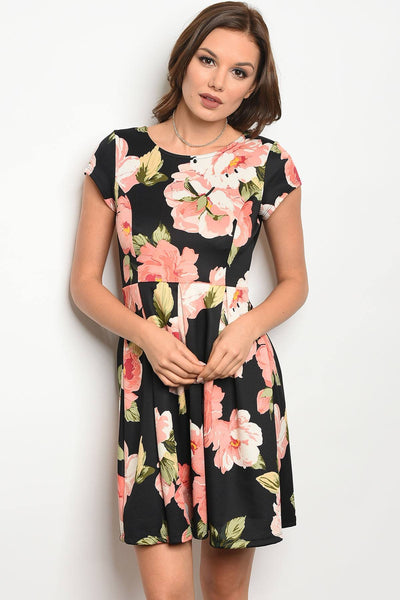 Ladies fashion short sleeve multi color floral print skater dress with a rounded neckline-S-MY UPSCALE STORE