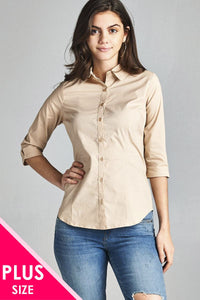 Ladies fashion plus size 3/4 sleeve stretch button down collar shirts-1XL-MY UPSCALE STORE