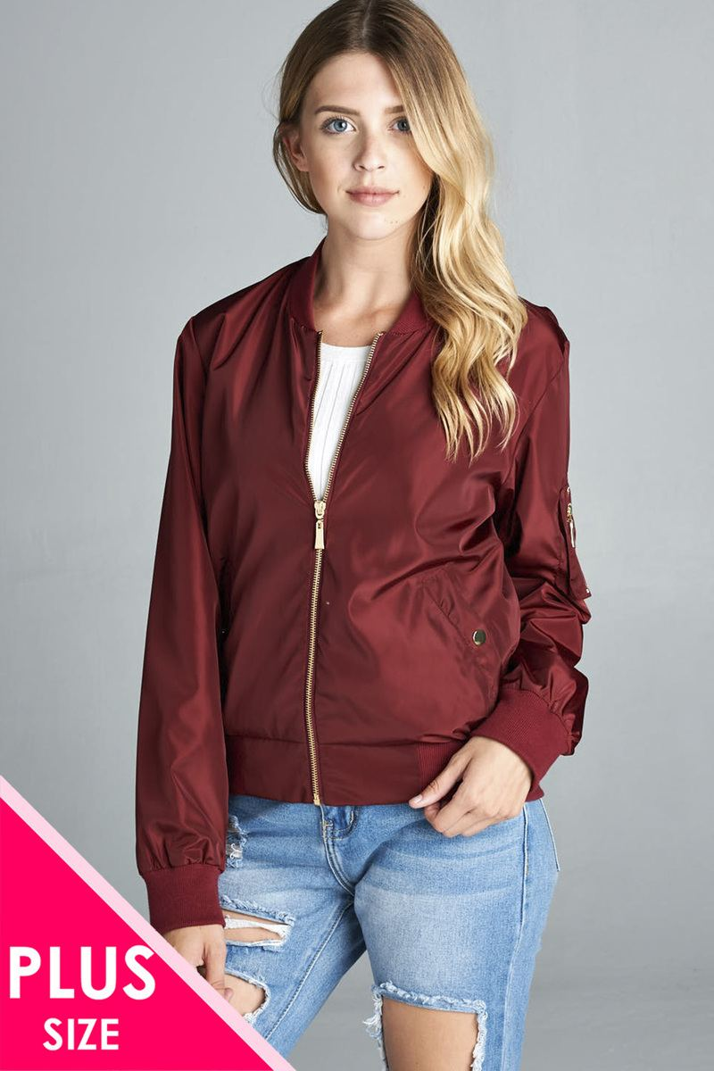 Ladies fashion plus size light weight bomber jacket-1XL-MY UPSCALE STORE