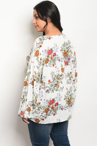 Ladies fashion plus size floral print top with a rounded neckline-1XL-MY UPSCALE STORE
