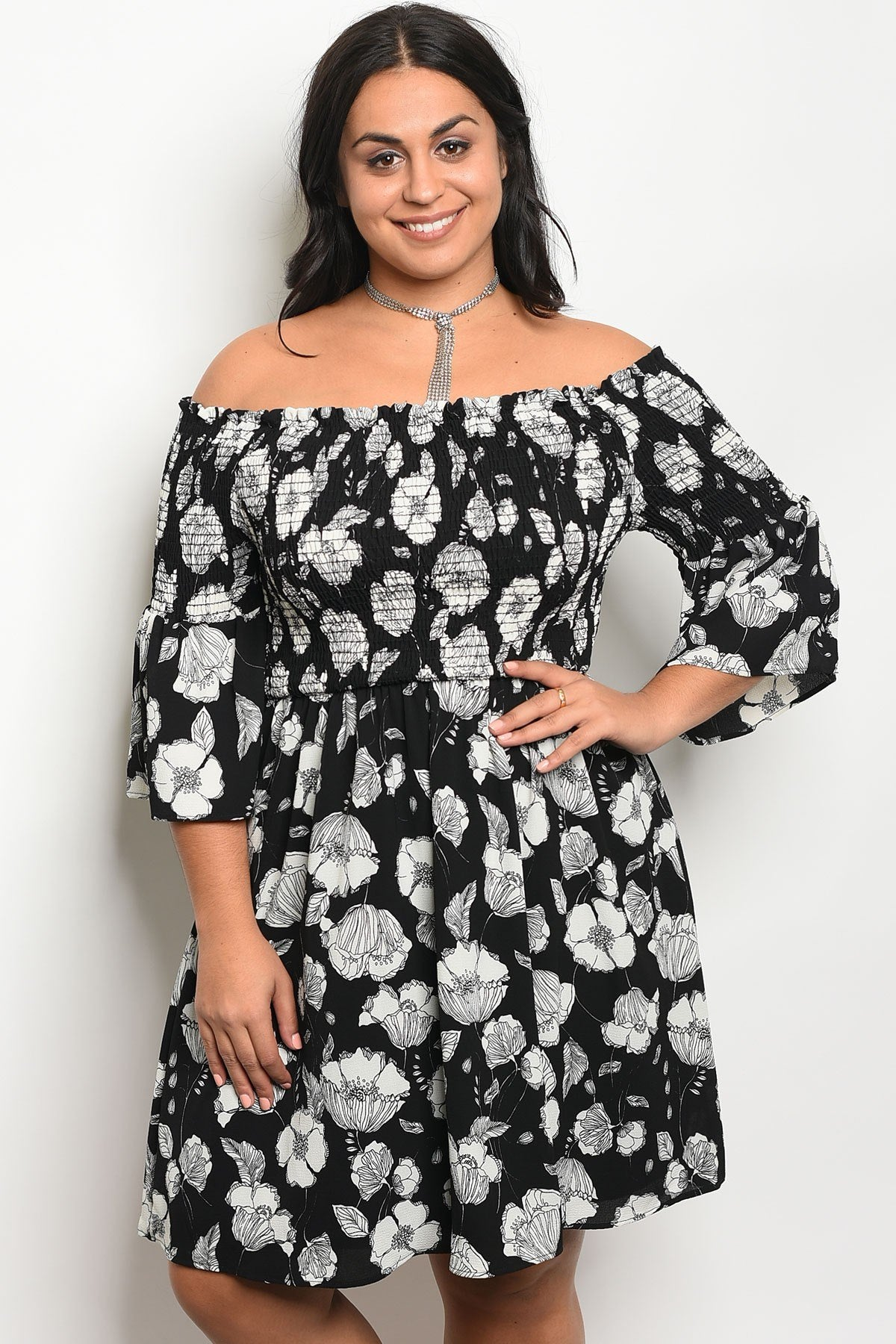 Ladies fashion plus size floral print off the shoulder skater dress-1XL-MY UPSCALE STORE