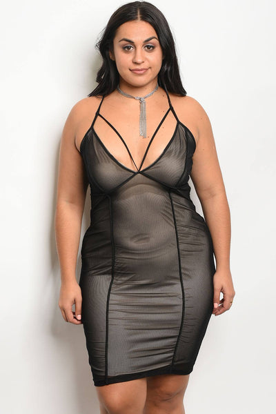 Ladies fashion plus size mesh bodycon dress with a v neckline and nude lining-1XL-MY UPSCALE STORE