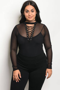 Ladies fashion plus size long sleeve mesh unlined bodysuit with a lace up detail and mock neckline-1XL-MY UPSCALE STORE