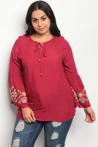 Ladies fashion plus size long sleeve top with a rounded neckline and floral embroidery detail-1XL-MY UPSCALE STORE